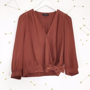 Madewell • Burnished Mahogany Silk Wrap Top Blouse